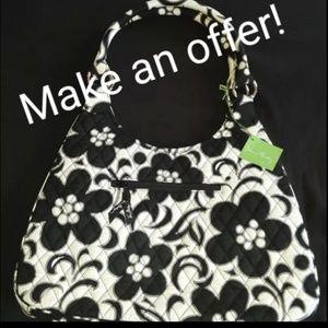 NWT Vera Bradley Quilted Black & White Hobo Bag